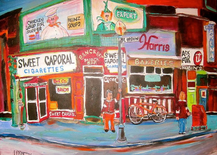 Harris Bakeries Greeting Card featuring the painting St. Urbain And Mount Royal Montreal Memories by Michael Litvack