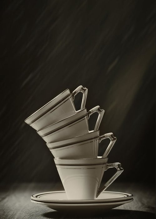 Stack Greeting Card featuring the photograph Stack Of Cups by Amanda Elwell