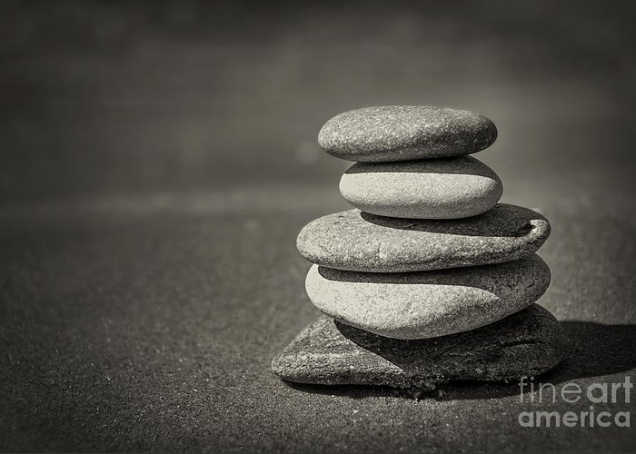 Rock Greeting Card featuring the photograph Stacked Pebbles On Beach by Elena Elisseeva