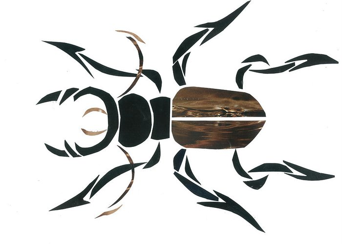Stag Beetle Greeting Card featuring the mixed media Stag Beetle Going Tribal by Earl ContehMorgan