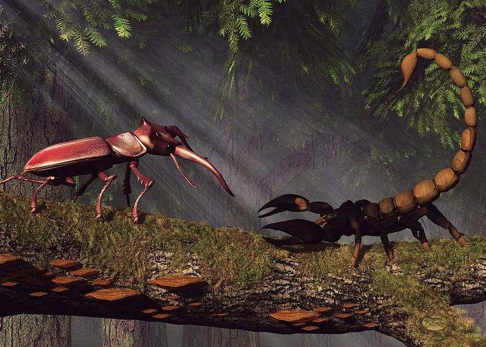 Stag Beetle Greeting Card featuring the digital art Stag Beetle Versus Scorpion by Daniel Eskridge