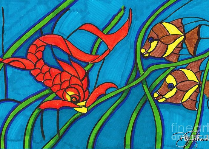 Markers Greeting Card featuring the drawing Stained Glass by Bill Richards