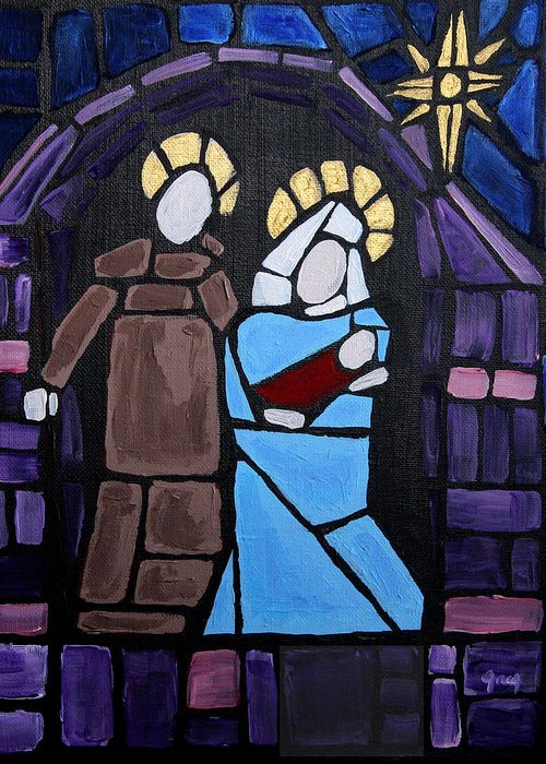 Stained Glass Greeting Card featuring the painting Stained Glass Nativity by Greg Willits