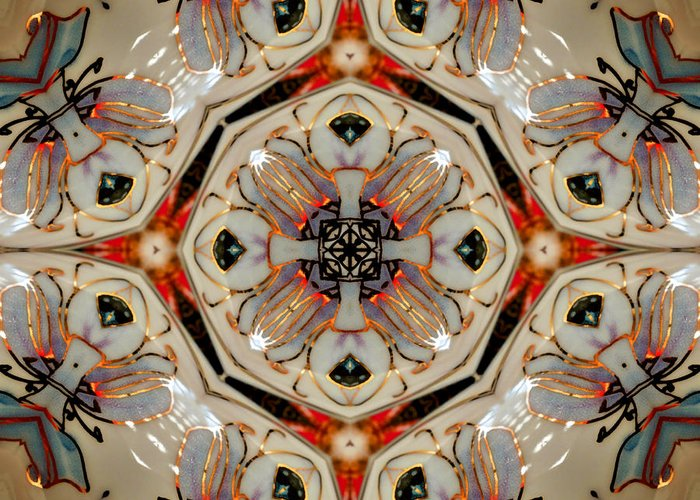 Abstract Greeting Card featuring the photograph Stained Glass by Pete Trenholm