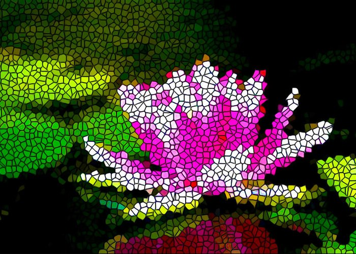 Stained Glass Pink Lotus Flower Greeting Card featuring the painting Stained Glass Pink Lotus Flower  by Lanjee Chee