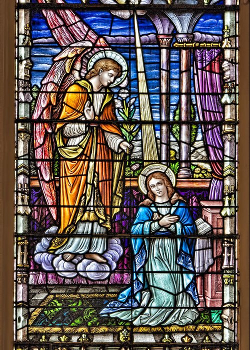 Catholic Greeting Card featuring the photograph Stained Glass by Susan Candelario
