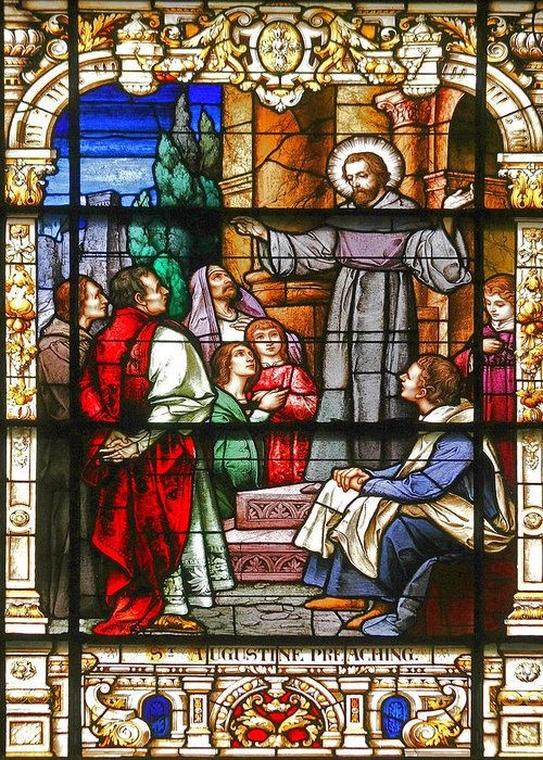 St Greeting Card featuring the photograph Stained Glass Window Saint Augustine Preaching by Christine Till