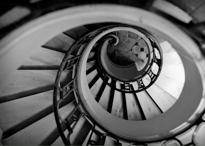 B&w Greeting Card featuring the photograph Staircase by Sebastian Musial
