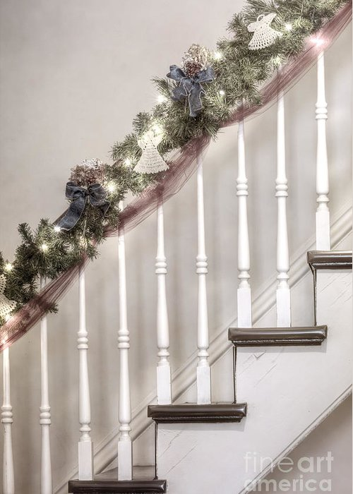 Stairs; Staircase; Side; View; Steps; Wood; Wooden; Details; Railing; Rail; Garland; Greenery; Christmas; Decorations; Angels; Ribbons; Lights; Bows; House; Home; Inside; Indoors; Banister Greeting Card featuring the photograph Stairs At Christmas by Margie Hurwich