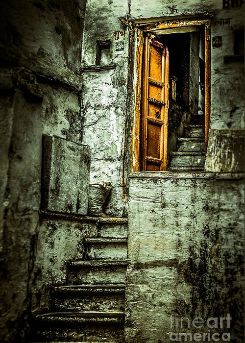 India Greeting Card featuring the photograph Stairs Leading To The Old Door by Catherine Arnas