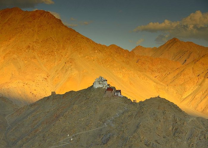 Monastery Greeting Card featuring the photograph Stairs To Tsemo by Aaron Bedell