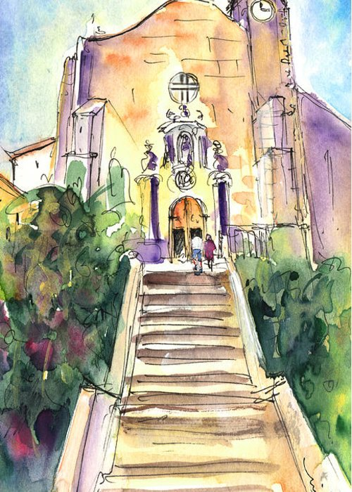 Travel Greeting Card featuring the painting Stairway To Heaven In Llansa by Miki De Goodaboom