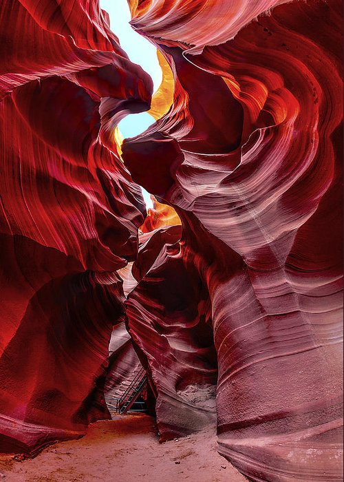 Antelope Canyon Greeting Card featuring the photograph Stairway To Heaven by Jason Chu
