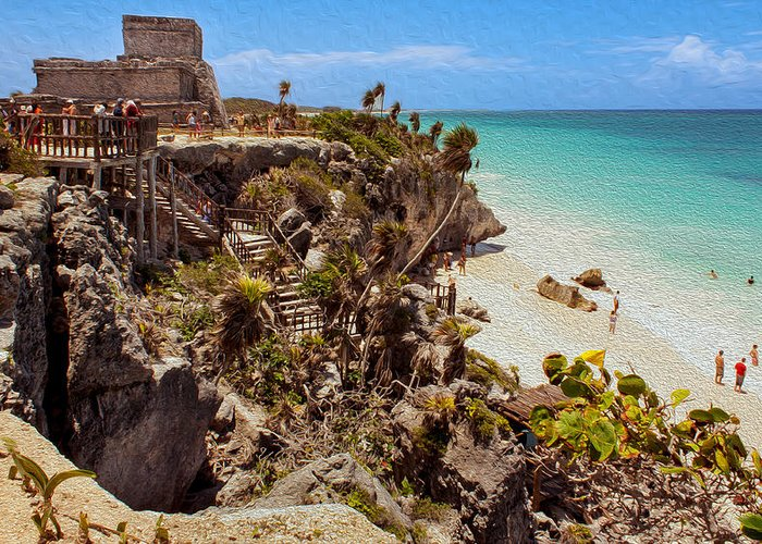Beach Greeting Card featuring the photograph Stairway To The Tulum Beach by John M Bailey