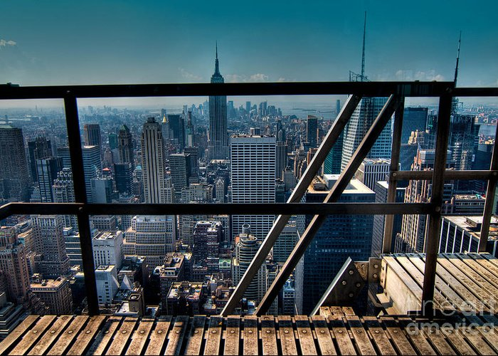 Aerial View Greeting Card featuring the photograph Stairways On Top Of Rockefeller Center by Amy Cicconi