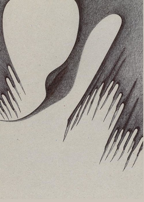 Nature Greeting Card featuring the drawing Stalactites Overhead by Giuseppe Epifani