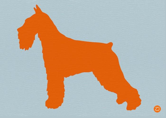 Standard Schnauzer Greeting Card featuring the photograph Standard Schnauzer Orange by Naxart Studio