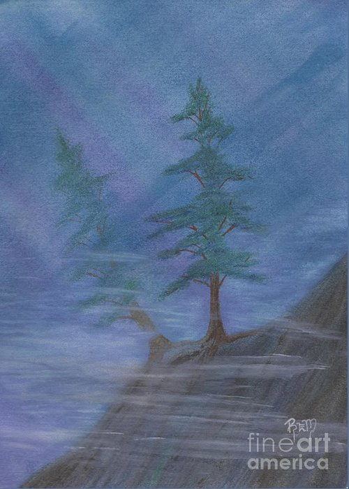 Mist Greeting Card featuring the painting Standing Alone by Robert Meszaros