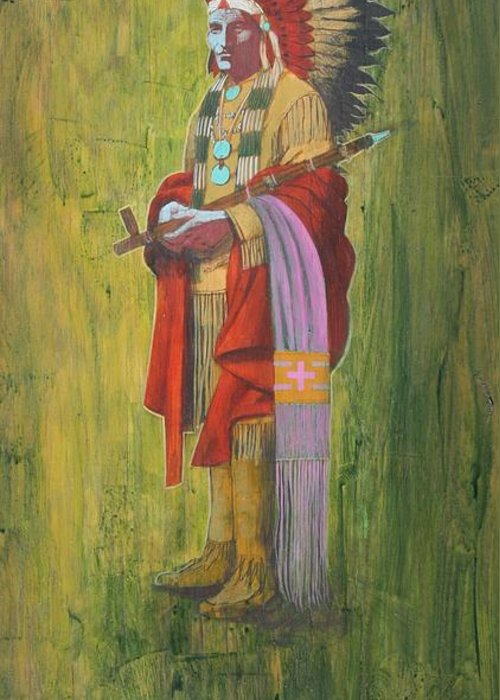 Oglala Sioux Chief Red Cloud Dressed In Colorful Regalia Greeting Card featuring the painting Standing Chief Red Cloud by J W Kelly