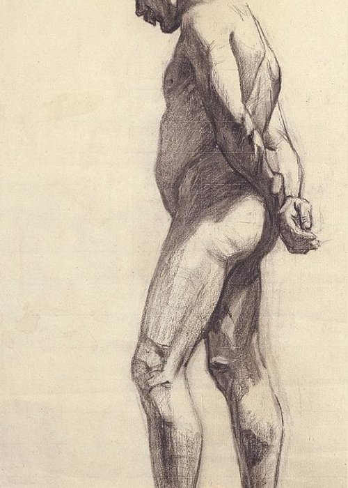 Standing; Male; Nude; Drawing; Study; Sketch; Pensive; Nabis; Les Nabis; 19th; 20th; Hands Behind Back Greeting Card featuring the painting Standing Male Nude by Felix Edouard Vallotton