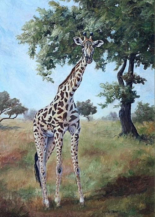 Giraffe Greeting Card featuring the painting Standing Tall by Brenda Thour