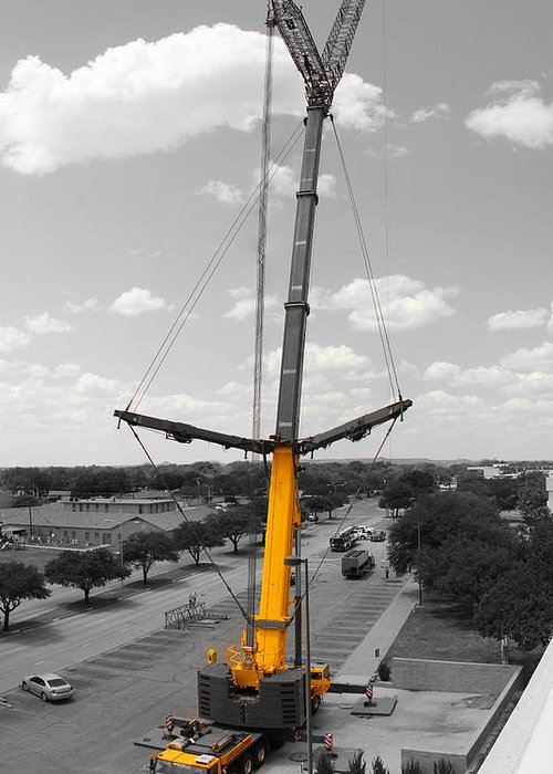 Construction Greeting Card featuring the photograph Standing Tall Bw by Chris Martin
