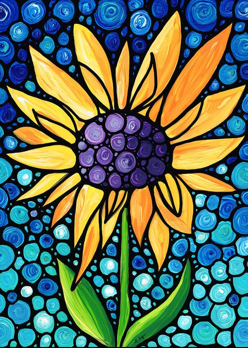 Sunflower Patch Paintings Greeting Cards