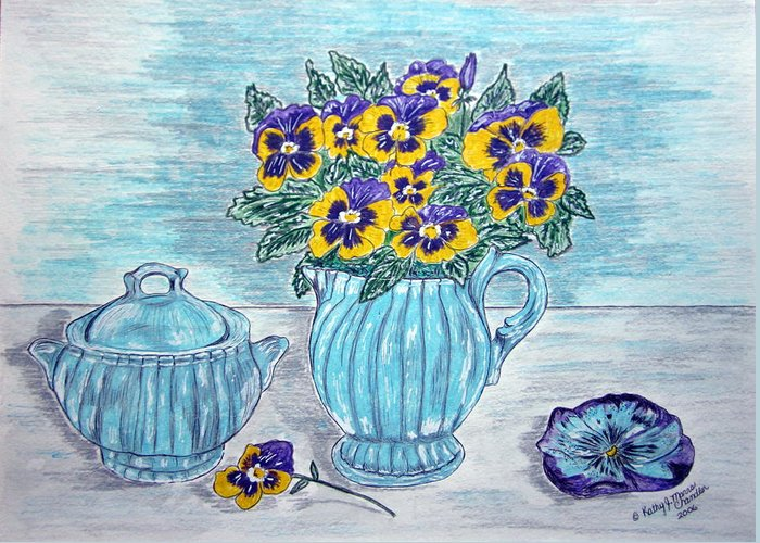 Stangl Pottery Greeting Card featuring the painting Stangl Pottery and Pansies by Kathy Marrs Chandler