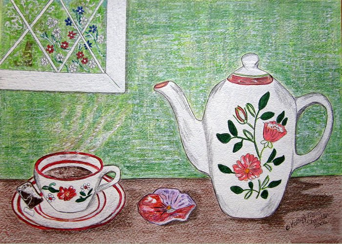 Stangl Pottery Greeting Card featuring the painting Stangl Pottery Rose Pattern by Kathy Marrs Chandler