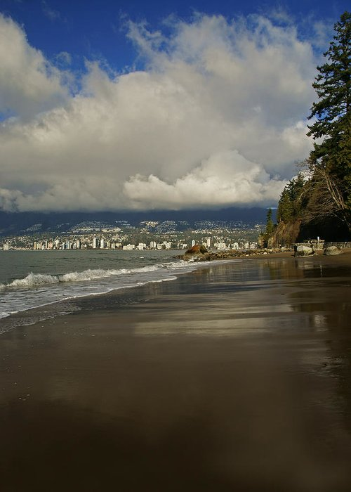 Stanley Park Greeting Card featuring the photograph Stanley Park Beach by Ann Badjura