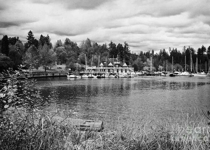 Stanley Greeting Card featuring the photograph stanley park coal harbour and Vancouver rowing club marina BC Canada by Joe Fox