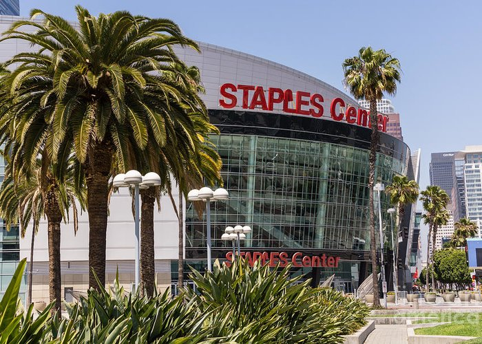 America Greeting Card featuring the photograph Staples Center In Los Angeles California by Paul Velgos