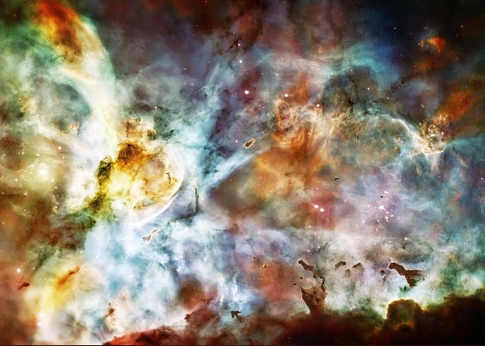 Universe Greeting Card featuring the photograph Star Birth In The Carina Nebula by Jennifer Rondinelli Reilly - Fine Art Photography