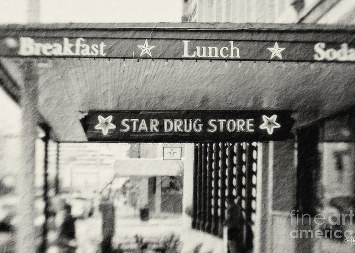 Black&white Greeting Card featuring the photograph Star Drug Store Marquee by Scott Pellegrin