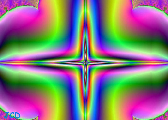 Abstract Greeting Card featuring the digital art Star From Heaven by Jean-Claude Delhaise