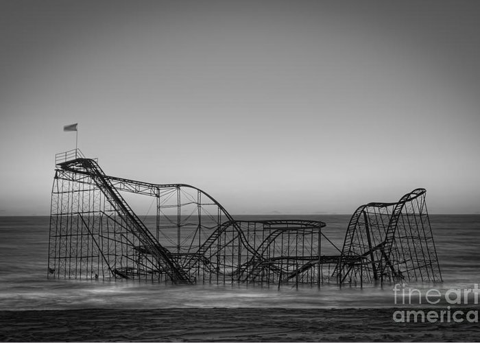 Nikon D800 Greeting Card featuring the photograph Star Jet Roller Coaster Bw by Michael Ver Sprill