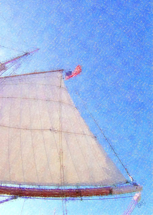 Ship Greeting Card featuring the photograph Star Of India. Flag And Sail by Ben and Raisa Gertsberg