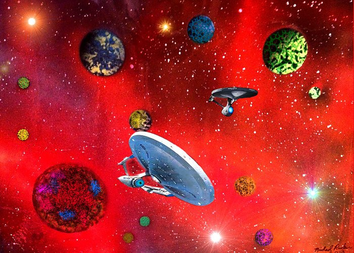 Star Trek Greeting Card featuring the painting Star Ships by Michael Rucker