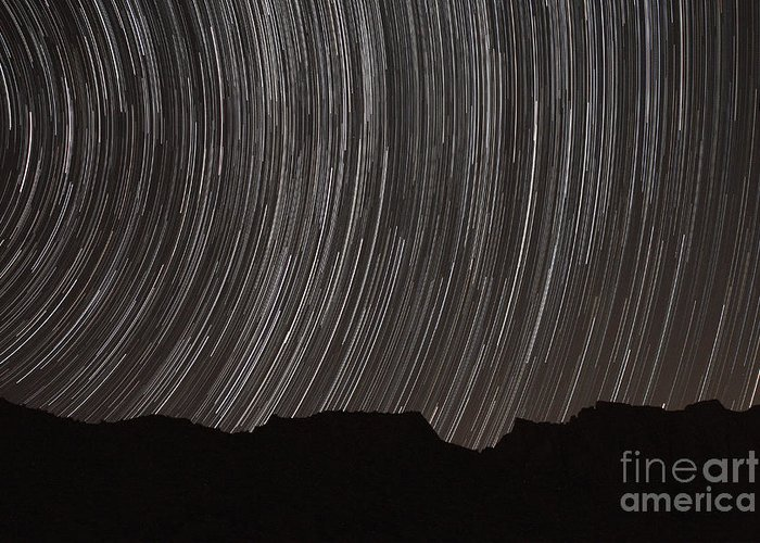 Horizontal Greeting Card featuring the photograph Star Trails Above A Valley by Amin Jamshidi