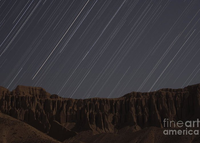 Horizontal Greeting Card featuring the photograph Star Trails Above Martians Valley by Amin Jamshidi