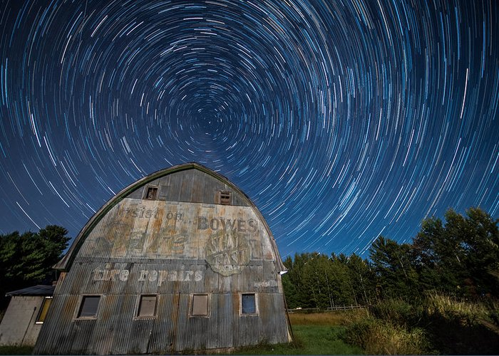 Star Greeting Card featuring the photograph Star Trails Over Barn by Paul Freidlund