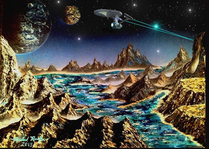 Star Trek Greeting Card featuring the painting Star Trek - Orbiting Planet by Michael Rucker
