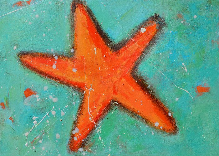 Starfish Greeting Card featuring the painting Starfish by Patricia Awapara