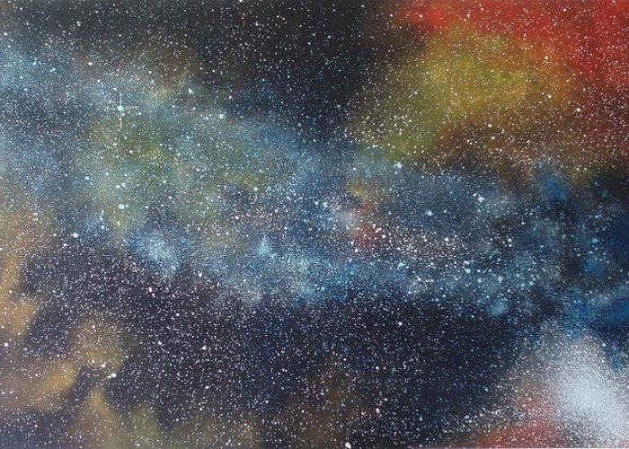 Space;stars;starry;nebula;spiral;galaxy;star Cluster;celestial;cosmos;universe;orgasm Greeting Card featuring the painting Stargasm by Sean Connolly
