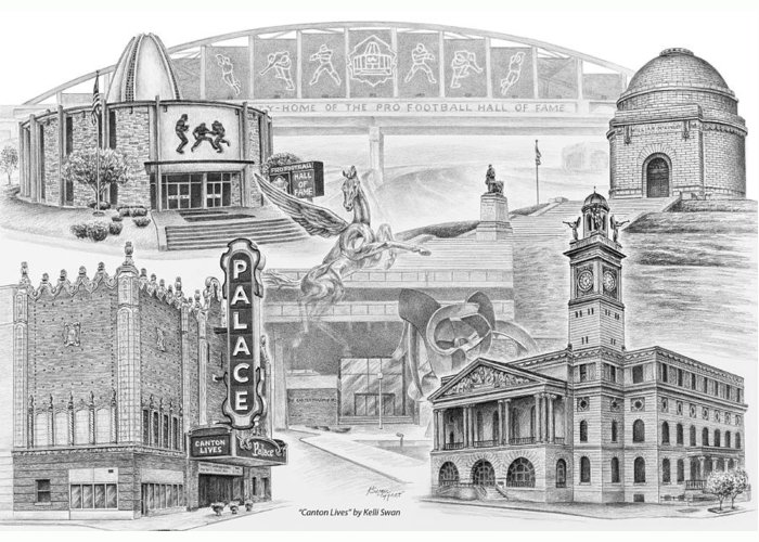 Canton Greeting Card featuring the drawing Stark County Ohio Print - Canton Lives by Kelli Swan