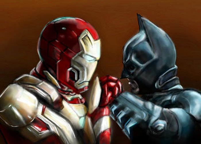 Batman Greeting Card featuring the painting Stark Industries Vs Wayne Enterprises by Vinny John Usuriello