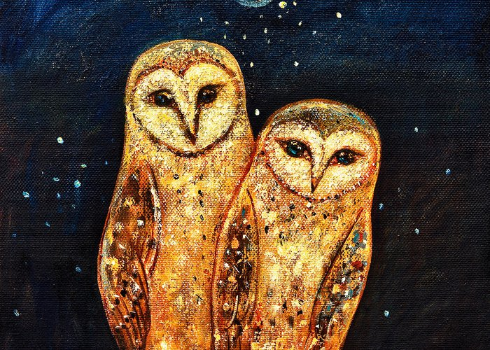 Owl Greeting Card featuring the painting Starlight Owls by Shijun Munns
