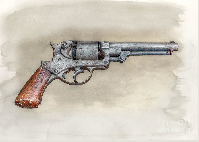 Starr Greeting Card featuring the digital art Starr Civil War Era Pistol by Randy Steele