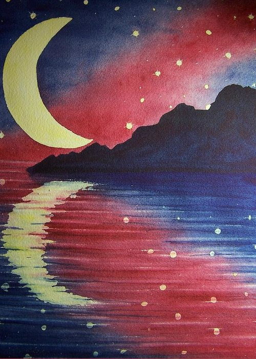 Star Greeting Card featuring the painting Starry Lake by Conni Reinecke