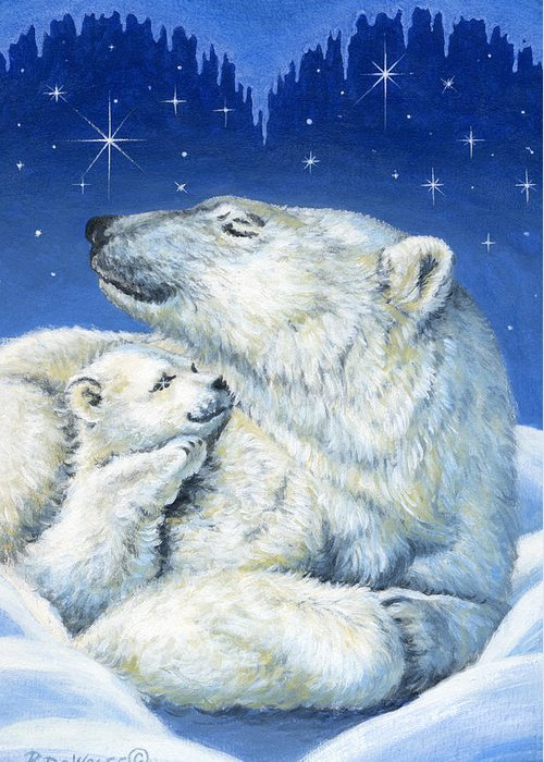 Winter Greeting Card featuring the painting Starry Night Bears by Richard De Wolfe